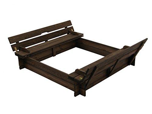 GartenDepot24 schöner Sandkasten aus Holz mit Deckel und Bänken B118 x T118 x H20 cm