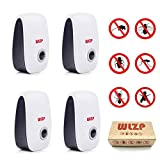 (4-pack) Ultrasonic Pest Repellent Electro Magnetic Natural Indoor Pest Control-Electronic Plug In Repellent