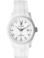 Playboy CLAS42WW - Reloj analógico de cuarzo unisex, correa de silicona color blanco