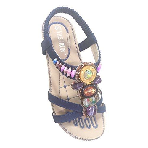 Jeelinbore sandali da donna peep toe scarpe da spiaggia con strass fiori pantofole infradito (#1 marina militare, cn 36)