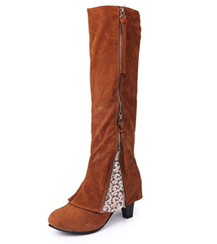 Donne Stretch Faux Slim Alti Stivali Ladies Over The Stivali Di Knee Alti Tacchi Scarpe Classica Inverno Autunno Inverno Boot Brown