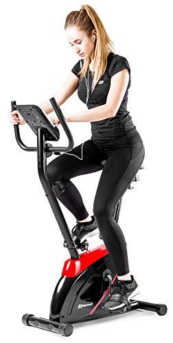 Hop-Sport Heimtrainer Onyx Fitnessgerät mit Pulssensoren und Computer, 8 Widerstandsstufen, Schwungmasse 7 kg, belastbar bis 120 kg, Tablet-Halterung/in 4 Farben erhältlich! (Rot)