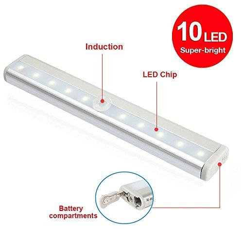 LED Lampen, Aluminum Schalen 10 Super-helle Kabellos Batteriebetrieben PIR Bewegungssensor Lichter, intelligent Nachtlicht Wandlichter mit magnetischem Streifen für Innen Schrank