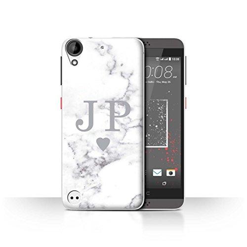 Stuff4® Personalisiert Weiß Marmor Mode Hülle für HTC Desire 530 / Solide Silber Herz Design/Initiale/Name/Text Schutzhülle/Case/Etui
