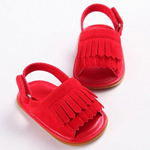 Igemy 1Paar Kleinkind Mädchen Krippe Schuhe Neugeborene Blume Soft Sohle Anti-Rutsch Baby Sneakers Sandalen Red