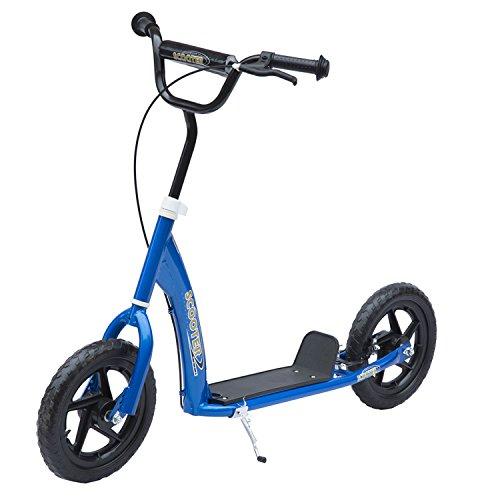 HOMCOM Tretroller Cityroller Kinder Roller Scooter höhenverstellbar 12 Zoll Stahl Blau 120 x 52 x 75-86cm