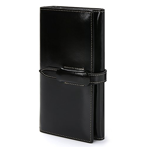 Damen Geldbörse Echtes Leder Geldbörse Damen Lang Luxus Geldbörse Große Kapazität 10 RFID Kartenfächer 5 Geldfächer 1 Reißverschlusstasche Brieftasche Damen Geldtasche mit feiner Verpackung -