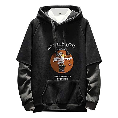 Kostüm D'assassin - Herren Sweat Hood Kapuzenpullover Slim Fit Baumwollmischung-Anteil Moderner WeißEr Hoodie-Sweatshirt-Pulli Langarm Schwarzer Pullover-Shirt Mit Kapuze(D Schwarz,XL)