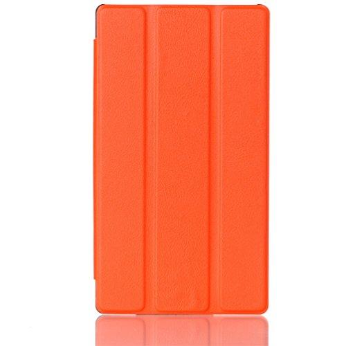 Lenovo Tab2 A7-30 Hülle Case - Orange Ultra Slim Leder Tasche Hülle Etui für Lenovo Tab 2 A7-30 17,8 cm (7 Zoll IPS) Schutzhülle Smart Case Cover mit Standfunktion