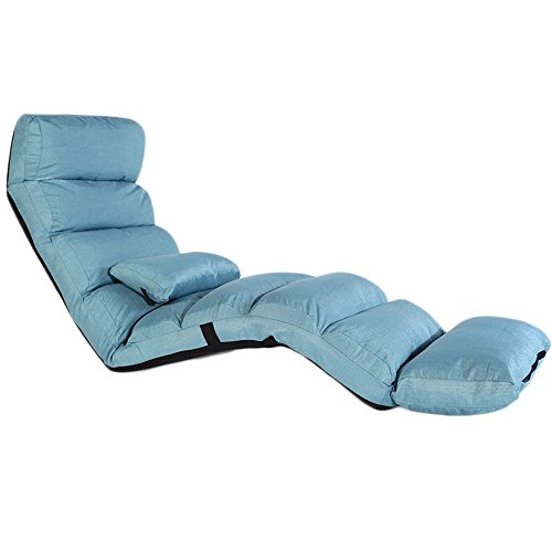 Sitzsäcke PHTW HTZ Faule Baumwolle Leinen Sofa Stuhl Einzel Faltbare Schlafsofa Rückenlehne Stuhl Balkon Erker Freizeit Lounge Chair + (Farbe : Lake Blue 1) -