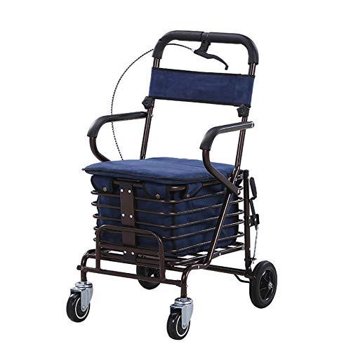 KOSHSH 4 Wheel Walker Rollator Folding Mit Abnehmbarer RüCkenstüTze Kommt Mit Weich Gepolstertem Sitz, Aufbewahrungskorb Ergonomischer Griff, Blue, Single Wheel
