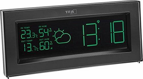 TFA Dostmann Coloris Funk-Wetterstation, mit Color Sharp Farbwechsel-Display und Außensender, Wettervorhersage