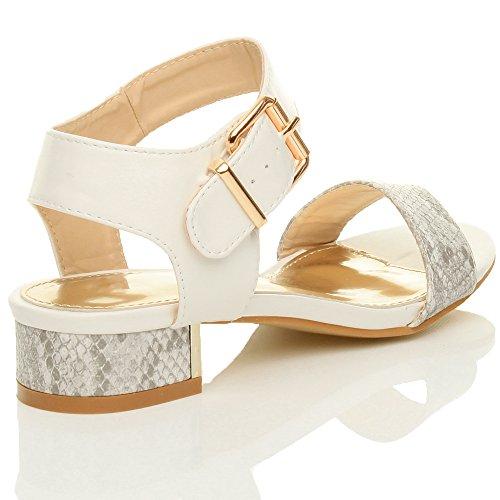 Ajvani Donna basso medio tacco cinturino alla caviglia festa sera sandali numero Grigio Bianco Serpente