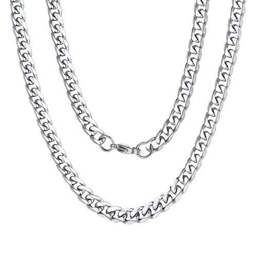 ChainsPro Männer Halskette Silber, Herre Schmuck Feine Kette Damen 925 Silber 6mm - Damen Frauen Halskette Silber in 46-76 cm Verfügbar (Mann-anhänger-halskette)