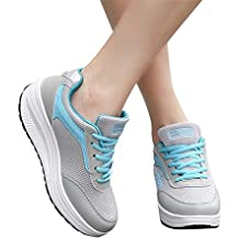 Memefood Plataforma Sneakers Con Cordones Calzado De Malla Zapatillas De Deportivos Cuña Para Mujer De Running