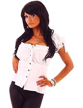 20609 Fashion4Young Damen Dirndlbluse Bluse Trachtenbluse Dirndl Trachten Oktoberfest Trachtenkleid