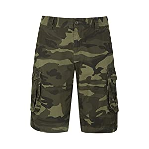Mountain Warehouse Mens Camo Cargo Shorts - 100% Cotton Twill Short Trousers, Lightweight Pants, Breathable, Durable Summer Shorts -for Hiking, Walking, Beach, Park