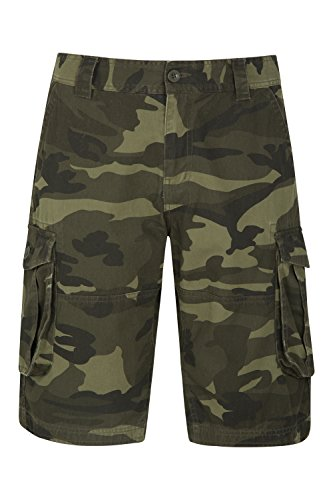Mountain Warehouse Camo Cargo Abréviations de Cargaison de Mens Camo - 100% Pantalon de Short de sergé de Coton, Pantalon léger, Shorts Respirables et durables d'été Kaki FR 44 (EU 34)