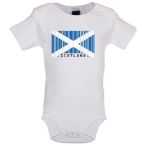 Scotland / Schottland Barcode Flagge - Lustiger Baby-Body - Weiß - 3 bis 6 Monate (Kleinkinder Rugby-shirts)