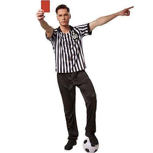 dressforfun Costume da uomo - Arbitro | Costume in due pezzi da arbitro in bianco-nero | Distintivo applicato con la lettera R e le cifre 00 (M | no. 301815)