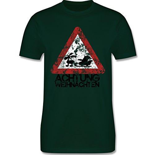 Weihnachten - Achtung Weihnachten - Vintage - L190 Herren Premium Rundhals T-Shirt Dunkelgrün