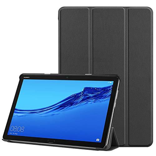 Faltbar Stand Leder Hülle für Huawei MediaPad T5, 10-Zoll Folio PU Ultra Slim Fit Schutz Auto Schlaf/Wach Magnetisch Flip Tablette Fall für Media Pad T5 10.1 2018 Schale mit Ständer (Schwarz) -