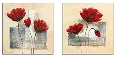 Wieco Art - Charming Spring Modern 2 Panels Stretched and Framed Giclee Canvas Prints Artwork Abstract Floral Oil Paintings Style Picture Photo on Canvas Wall Art for Bedroom Home Decorations 2pcs/set produced by Wieco Art - quick delivery from UK.