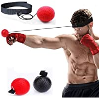FT Boxing Reflex Balls, 2 Boxing speed Balls with Headband,2 Levels- black ball (23g) for novices. red (85g) for the experienced for SPEED, REFLEXES, TIMING - PLUS FREE BOXING FOOTWORK CHART !!!