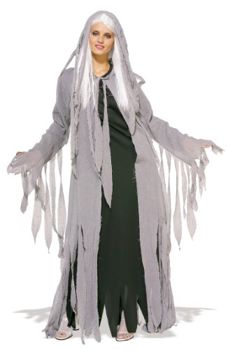 Halloween Mitternacht Geist Zombie-Kostüm. Ladies Standardgröße 38-42. Budget Perücke, hooded Gaze Mantel und (Kostüme Geist Mitternacht)