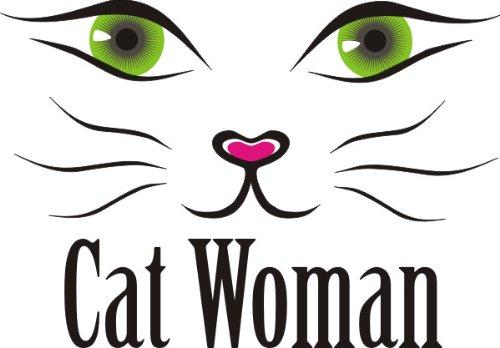 T-Shirt E099 Schönes T-Shirt mit farbigem Brustaufdruck - Logo / Comic - Grafik Katze / Schriftzug CAT WOMAN Weiß