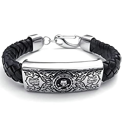 Adisaer Womens Mens Stainless Steel Leather Bracelets 8.5 IN Length Black Silver Bangle Bracelets