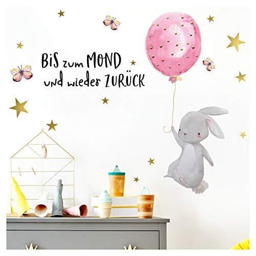 Little Deco Wandtattoo Babyzimmer Hase Spruch Bis Zum Mond Sterne