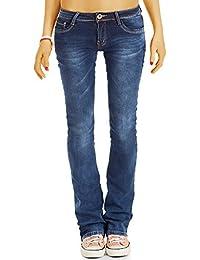 Bestyledberlin Damen Basic Slim Fit Schlag Jeans, Hüftige ausgestellte Boot-Cut Jeans j78i