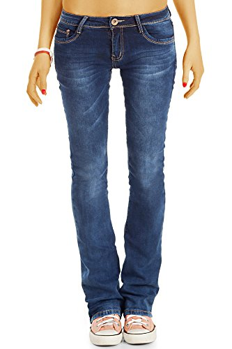 bestyledberlin Damen Basic Slim Fit Schlag Jeans, Hüftige ausgestellte Boot-Cut Jeans j78i 40/L (Basic-bootcut-jeans)