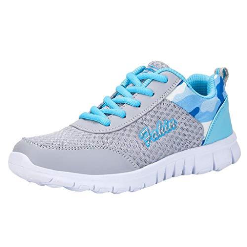 Skang Damen Sommer HeißEr Sneaker Freizeitschuhe Outdoor-Wanderschuhe Damen Flache Schuhe SchnüRschuhe Bequemes Mesh-Garn Atmungsaktive Sneaker(42 EU,Blau)