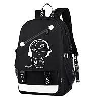 Dolirox Children Luminous Anime School Bag, 20 L (Black A)