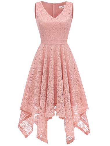 Aupuls 0036 Spitzenkleid Lang unregelmäßig Cocktailkleid Einfarbig Festliche Kleider Blush X-Large