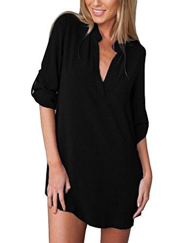 ZANZEA Donna Sexy V-Neck Chiffon Maniche Lunghe Camicetta Camicia Tops Shirt Nero IT 44/US 12