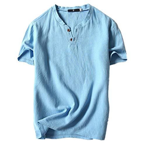 Camisetas Hombre,SHOBDW Verano de Lino Liso Algodón Talla Grande Botón de Manga Corta Camiseta con Cuello En V Blusa Suelta Camiseta Informal Tops para Hombres(Cielo Azul,L)