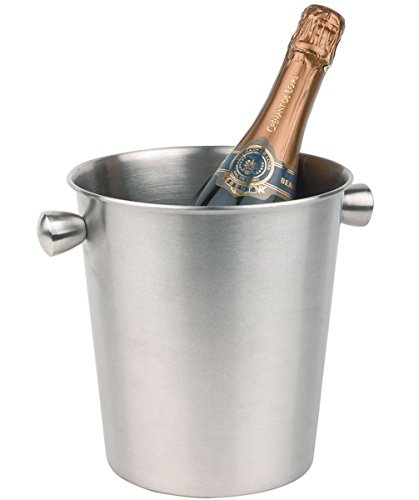 De Vin/seau à champagne en acier inoxydable mat poli, massive Poignées avec poignées creuse/Ø haut/bas 20/15 cm, hauteur : 20,5 cm, contenu : 4 Ltr. | Sun