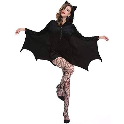 RENYAFEI Halloween Kostüm Halloween Kleider Dracula Cosplay Vampir-Anzug Sexy Kleid Und Socken Mittelalter Karneval Party Für Erwachsene Weibliche Größe,Black,XL (Weibliche Dracula Kostüm)
