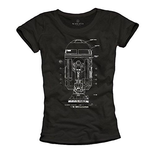 Vintage Nerd T-Shirt - R2D2 Roboter - schwarz Größe M