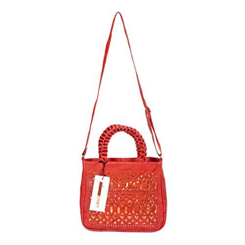 Intensekart Red & Golden Cut Work PU Handbag With Sling Strap