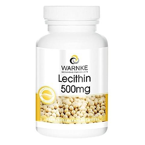Warnke produits de santé lécithine 500mg (à partir de soja sans OGM) 100 gélules