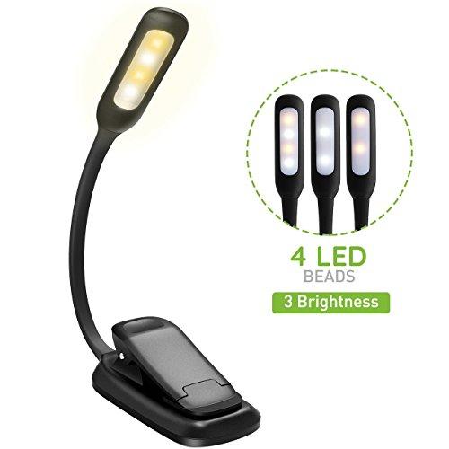 LED Buchlampe, TOPELEK Tragbare LED Leselampe mit 4 LEDs(2 Weiß,2 Warmweiß),3 Helligkeitseinstellungen, 360° Flexibel and Wiederaufladbar LED Klemmleuchten,Schreibtischleuchte, mit Netzteil und USB-Kabel, Arbeitsplatzleuchten mit Klemme für Nacht Lesen, Kindle, Notenständer.(Warmweiß licht)