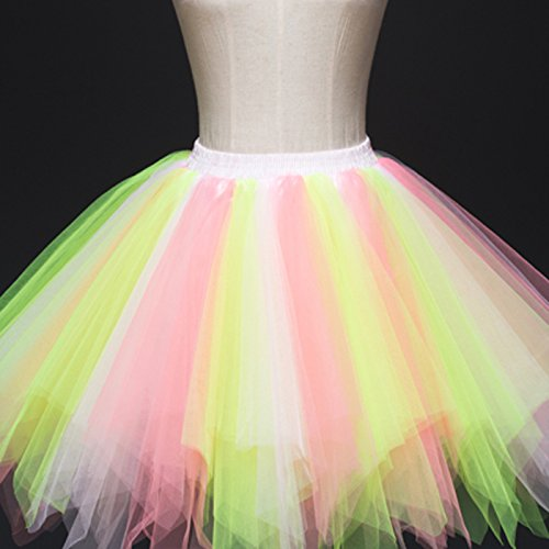 Feoya Donna Retro Annata di 50 Anno Tutu Gonna Bubble Gonna Balletto di Danza Principessa Sottogonna Mini Tutu per il Partito di Prom Tulle multicolore 10