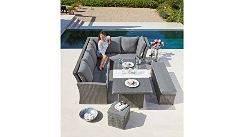 baumarkt direkt Gartenmöbelset Santorini, 17-tlg,2 Sofas, Bank, Hocker, Tisch 150x85 cm, Polyrattan grau