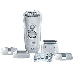 Braun Silk-épil SE 7-561 Wet&Dry Épilateur Électrique Jambes, Corps et Visage pour Femme - CloseGrip et 8 Accessoires, Tête de Rasage et Embout Tondeuse