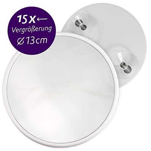 Fantasia Kosmetikspiegel mit 15-Fach Vergrößerung, Premium Schminkspiegel Ø 13cm rund mit Saugnapf, Acryl Make-Up-Spiegel für zuhause und unterwegs, innen Ø 12,0cm