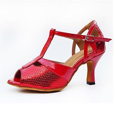 RUGAI-UE Women's Latin Synthetische Microfaser PU-Ferse Indoor Schnalle High Heel Rot Anpassbar, 3